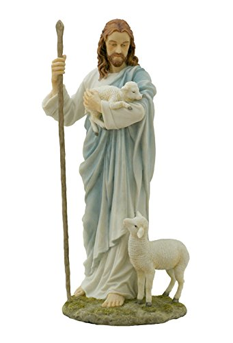 11.38 Inch Jesus The Shepherd Decorative Figurine, Pastel - Statue Good Shepherd