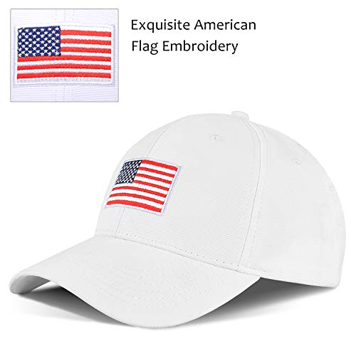 All Star Embroidered Cap - Tirrinia Unisex American Flag Embroidered Baseball Cap Adjustable Sports Golf Cap White