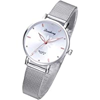 Hemobllo Women's Watches Luxury Dress Fashion Gorgeous Small Quartz wristwatches mesh Alloy Bracelet(White)