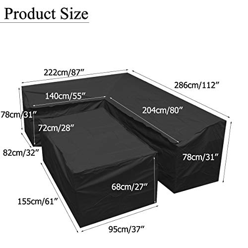 dDanke Gray L-Shaped Sofa Dust Cover & Rectangular Table Cover Set for Outdoor Patio Sunproof Dustproof Furniture Protection (2 Sizes Together)