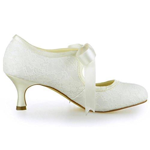 Tå Bryllup Hæl Sko Elfenben Dans Prom Jia Lav Sateng Wommen 140311 Pumper Blonder Lukket Brude Fest HFwa0