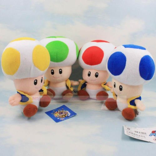gg 4PCS/SET Mario Bros Red Green Blue Yellow Mushroom Toad Plush Toys 7