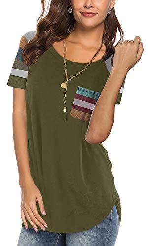 - Womens Casual T Shirts Striped Short Sleeve Tops Fashion 2019 Tshirts Cute Tunic Baseball Tee Navygreen S