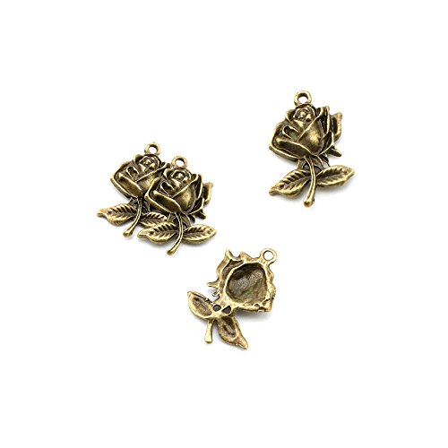 Price per 20 Pieces Antique Bronze Jewel - Rose Charms Shopping Results