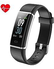 KALINCO Fitness Tracker mit Pulsuhr,IP68 Wasserdicht, Fitness Armband mit 0.96 Farbbildschirm, Benachrichtigungen in Echtzeit, Schrittzähler, Kalorienzähler, Aktivitätstracker für Damen Kinder Herren