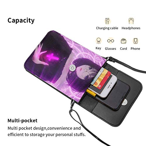 Hdadwy mobiltelefon crossbody väska häxa kvinnor läder liten handväska mobiltelefon handväska plånbok lätt att bära bekvämlighet magnetisk öppning och stängning med justerbar rem