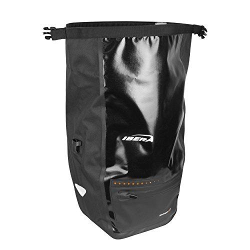 Ibera Bike Pannier Bag - PakRak Clip-On Quick-Release Waterproof Bicycle Panniers (Pair)