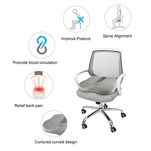 CNXUS Coccyx Orthopedic Memory Foam Seat Cushion, Chair Cushion with Non-Slip Removable Cover for Back Pain Tailbone and Sciatica Pain Relief for Home, Office and Car (Gray) by CNXUS (Image #2)