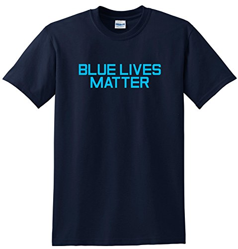 Blue Lives Matter T-shirt Ferguson Police Support Tee Navy BLue (XX Large)