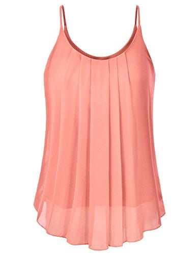 EIMIN Women's Pleated Chiffon Layered Sleeveless Cami Tank Tunic Top Peach L