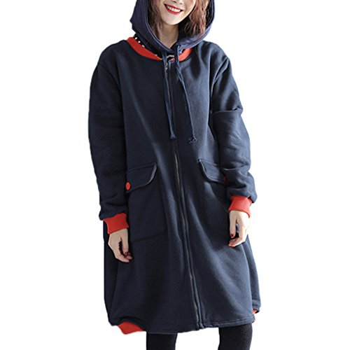 YunPeng Womens Diverse Large Size Thickening Loose Jacket Coat Trench Coat Blue