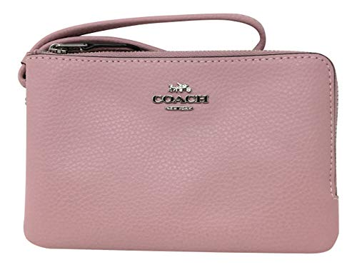 (Coach Pebbled Leather Double Corner Zip Wristlet F87590 Carnation, Small)