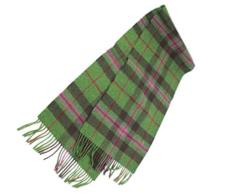 "John Hanly & Co. Plaid Wool Scarf Unisex 63"" x 12"" Green & Pink Made in Ireland"