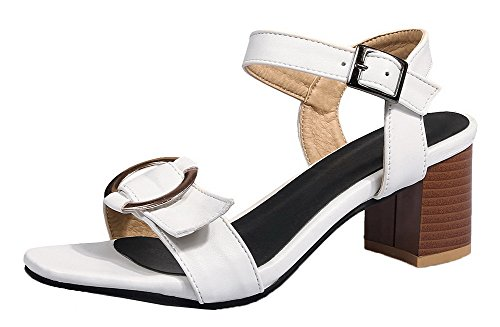 Solid Buckle Women's Open Toe Pu WeiPoot Kitten White Sandals Heels R0YqwFd
