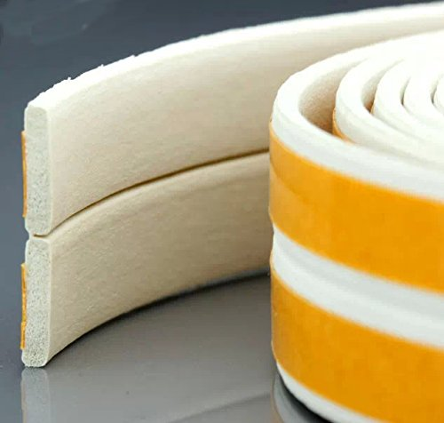 Loobani 448-inches Long Door Window Insulation Soundproofing Weather Stripping Tape, EPDM Rubber Self Foam Adhesive Weatherstrip Draught Excluder, 9mm x 2mm x 4 Seal ( I Type White ) - Doors With Side Panels