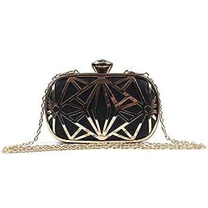 03727c2a2 LUI SUI Las mujeres de cuero de imitación de metal hueco bolsa de embrague  exquisitos bolsos