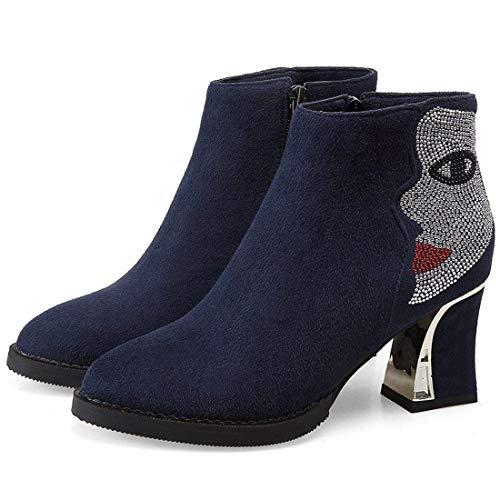 Autumn Womens Heel Vitalo Blue High Winter Up Chunky Boots Ankle Zip Booties Rhinestone with vwB4qdB