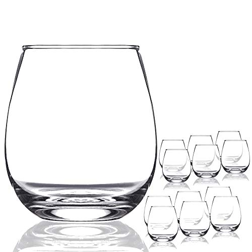 Chef's Star Shatter-Resistant Stemless Wine Glass Set (12 -
