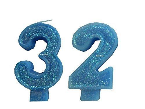 2 Stück Geburtstagskerze mit der 'Zahl 32' für einen Mann Farbe glänzend hell blau-weiß