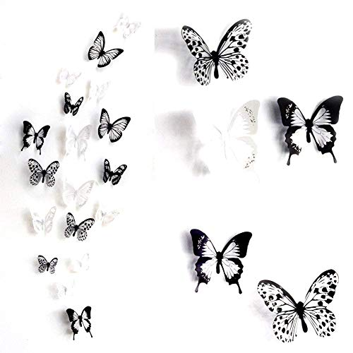 - ElecMotive 36 PCS 3D Colorful Crystal Butterfly Wall Stickers with Adhesive Art Decal Satin Paper Butterflies Home DIY Decor Removable Sticker (Black-White)