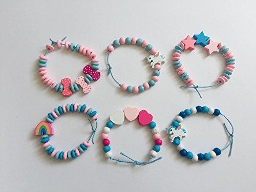 Unicorn Bracelet Kit, Wooden Beads, Jewelry Making Charm, Gift
