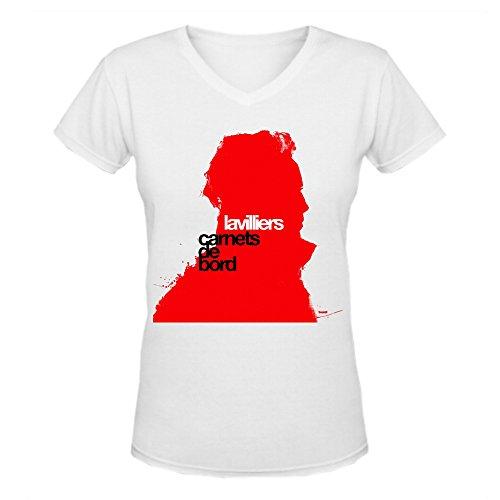 Bernard Lavilliers Carnets De Bord Short-Sleeve Women V-Neck Tee Shirts White