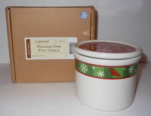 New Longaberger Retired 1 Pint Holiday Crock Set - Comes with Crock, Lid and Cinnamon Clove Candle! - Makes a GREAT Gift!