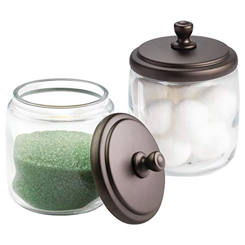 mDesign Bathroom Vanity Glass Storage Organizer Canister Apothecary Jars for Cotton Swabs, Rounds, Balls, Makeup Sponges, Blenders, Bath Salts - 2 Pack, Clear/Bronze