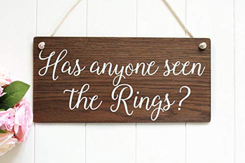 123RoyWarner Has Anyone Seen The Rings Wooden Wedding Sign Page Boy Sign Rustic Wedding Signs Boho Wedding Bridal Shower Gift Ring Bearer Sign