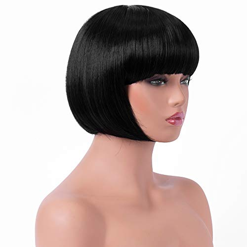 (BESTUNG Short Straight Bob Hair Wigs with Flat Bangs for Women Black Synthetic Heat Resistant Cosplay Party Costume Hair)