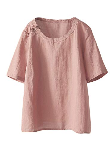 Mordenmiss Women's Cotton Linen Tops Short Sleeve Retro Chinese Frog Button Blouse Casual Loose T Shirt Pink M