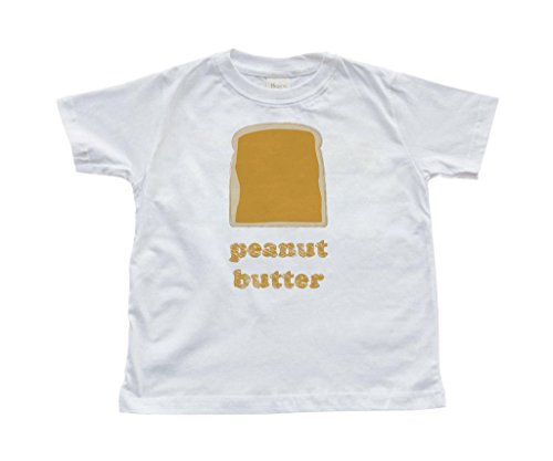 Fun Twins Best Friends Toddler Kids Cute T-Shirt Peanut Butter (Goes With Jelly) (2T, White)