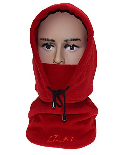 zzlay Balaclavas帽子ダブルレイヤ厚み付け冬キャップネック暖かいスキーフェイスマスク  レッド B074RZXXPJ