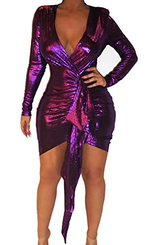BestGirl Women's Sexy Dress Deep V Neck Long Sleeve Ruched Sparkly Bodycon Club Mini Dresses Purple (Clubwear Clothing Sexy Sexy)