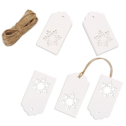 Snowflake Gift Tag - Whaline 100 Pcs Paper Tags Kraft Gift Tags Snowflake Shape Hang Labels with 30 Meters Twine for Wedding Valentine's Day and DIY Arts and Crafts Decorations