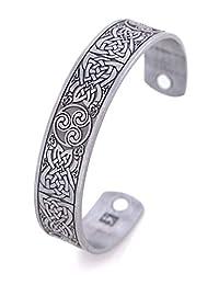 VASSAGO Vintage Amulet Nordic Viking Irish Celtic Knot Triskelion Triskele Magnetic Health Cuff Bracelet for Men Women