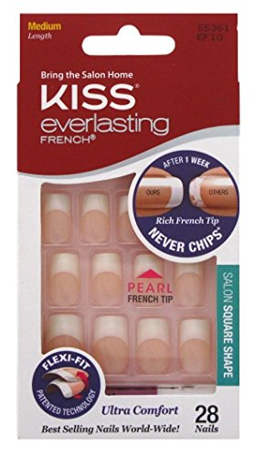 Kiss Everlasting French Nail Kit Medium Pearl Tip 28 Nails (6 Pack)