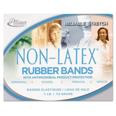Non Latex Antimicrobial Cyan Blue Rubber Bands, Sz.#19, 3-1/2 x 1/16, 1/4lb Box, Sold as 1 Box