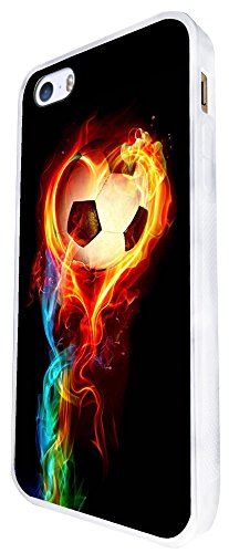 1484 - Cool Fun Trendy Sports Goal Soccer Football Fire Win Champions Design iphone SE - 2016 Coque Fashion Trend Case Coque Protection Cover plastique et métal - Blanc