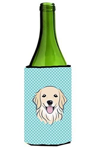 (Caroline's Treasures BB1143LITERK Checkerboard Blue Golden Retriever Wine Bottle Beverage Insulator Hugger, Wine Bottle, multicolor)