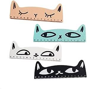 Reglas | Pcs/lot Kawaii diseño de cabeza de gato regla de madera estudiante regla marcapáginas herramienta de medición retazos regla de dibujo | por VivianBalk: Amazon.es: Oficina y papelería