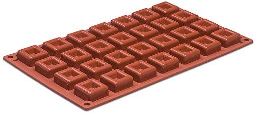 Silikomart Orange Non Stick Mini Square Savarin - 28 Forms - Non Stick Savarin Mold