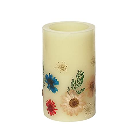Home impressions Yellow Flower Flameless LED Candle with Timer, Work with 2 C Batteries and (Candele Sconce)