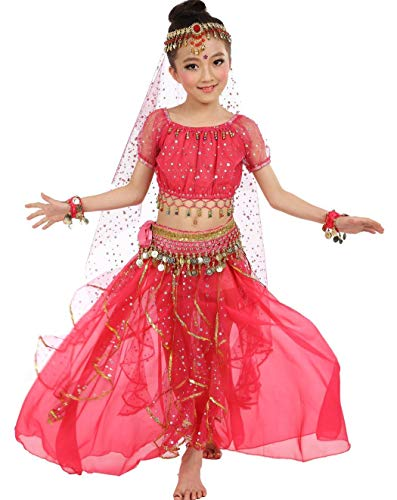 Girls Belly Dance Top Skirt Set Halloween Costume with Head Veil,Waist Chain,Hot Pink,S(Height: -