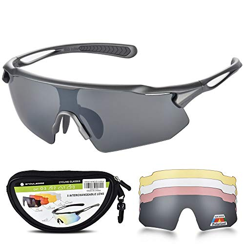 (HUBO SPORTS Cycling Glasses, TR90 Unbreakable Frame Polarized Sports Sunglasses, Bike Glasses for Men Women with 5 Interchangeable Lens, Anti-UV400 for Driving Fishing Glof Baseball Running Hiking)
