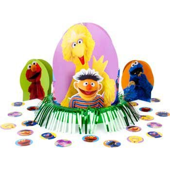 Sesame Street 1st Birthday Centerpiece (3 Centerpieces And Confetti) (Sesame Street Halloween Costumes)