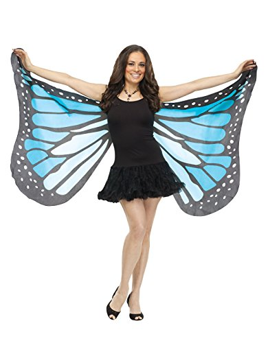 Fun World Women's Blue Fabric Butterfly Wings, Standard