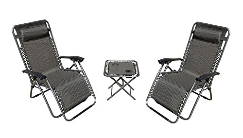 (Akari Decor 3pcs Set Deluxe 2-Pack Furniture Zero Gravity Chairs Outdoor Indoor Portable Lounge & Folding Table W/Cup Holder Set for Beach Recliner Camping Lawn Balcony Deck, (3 Pcs Set))