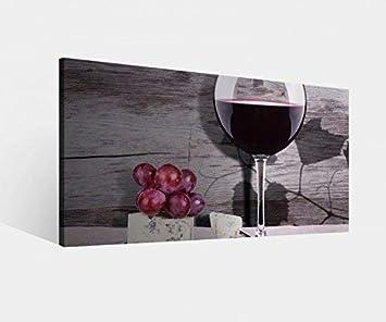 Amazon.de: Leinwandbild Wein Glas Trauben Essen Küche ...