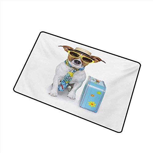 Axbkl Interior Door mat Dog Traveler Funny Dog Dressed as a Tourist with Hat Glasses Necktie and a Floral Suitcase W35 xL59 Breathability